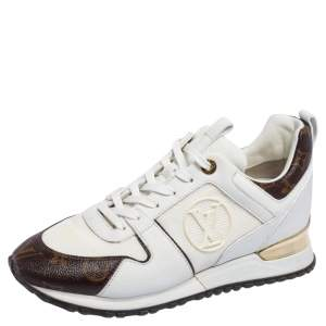 Louis Vuitton Brown/White Mesh And Monogram Coated Canvas Run Away Sneakers Size 39