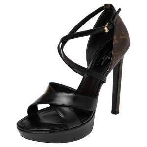 Louis Vuitton Black Leather And Monogram Canvas Temptation Platform Sandals Size 38.5