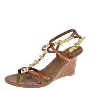 Louis Vuitton Tan/Cream Leather And Patent Fleur  Wedge T Strap Sandals Size 38