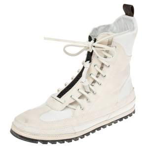 Louis Vuitton White/Cream Suede and Leather High Top Sneakers Size 38.5