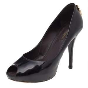 Louis Vuitton Black Patent Leather Oh Really! Peep Toe Platform Pumps Size 37.5