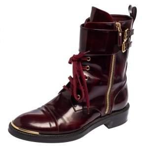 Louis Vuitton Burgundy Leather Diplomacy Ranger Boots Size 38