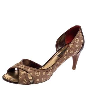 Louis Vuitton Burgundy Mini Lin Canvas And Patent Leather D'orsay Open Toe Pumps Size 36.5