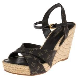 Louis Vuitton Brown/Black Denim Monogram And Patent Leather Espadrilles Wedge Sandals Size 37