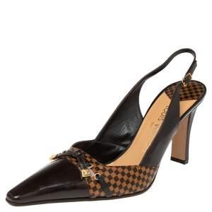 Louis Vuitton Brown Damier Ebene Vernis Slingback  Sandals Size 41
