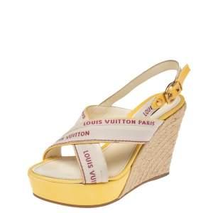 Louis Vuitton Beige/Yellow Canvas Cross Strap Espadrilles Wedge Sandals Size 39