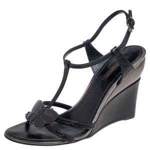 Louis Vuitton Black Croc Embossed Leather Butterfly Wedge Sandals Size 39