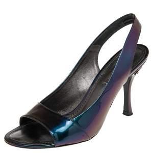Louis Vuitton Metallic Iridescent Patent Leather Slingback Sandals Size 37