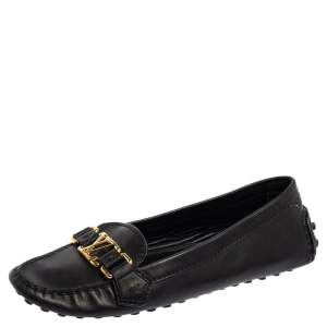 Louis Vuitton Black Leather Slip On Loafers Size 37.5