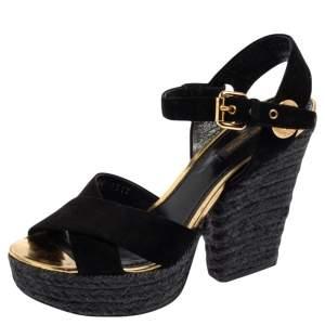 Louis Vuitton Black Suede Criss Cross Ankle Strap Platform Espadrille Sandals Size 37