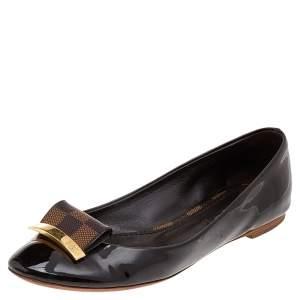 Louis Vuitton Damier Ebene Patent Leather Ballet Flats Size 36.5