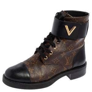 Louis Vuitton Black/Brown Monogram Canvas and Leather Wonderland Ranger Ankle Length Combat Boots Size 39