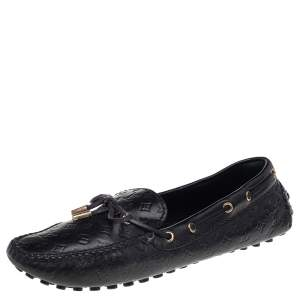 Louis Vuitton Black Monogram Leather Gloria Loafers Size 38.5