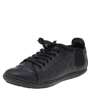 Louis Vuitton Black Monogram Empreinte Leather Rubber Low Top Sneakers Size 39