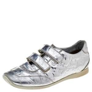 Louis Vuitton Silver Monogram Leather Velcro Strap Low Top Sneakers Size 40