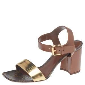 Louis Vuitton Metallic Gold/Brown Leather Block Heel Ankle Strap Sandals Size 38.5