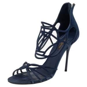 Louis Vuitton Blue Suede Cut Out Strappy Sandals Size 37