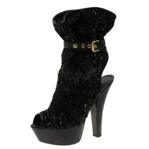 Louis Vuitton Black Sequins and Leather Peep Toe Platform Ankle Boots Size 37