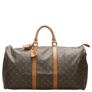 Louis Vuitton Brown Monogram Canvas Keepall 50 Bag
