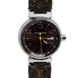 Louis Vuitton Brown Stainless Steel Monogram Leather Q1311 Women's Wristwatch 34 mm