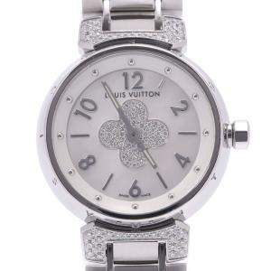 Louis Vuitton Silver Diamonds Stainless Steel Tambour Forever Center Q121P Quartz Women's Wristwatch 28 MM
