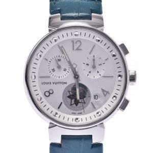 Louis Vuitton White Stainless Steel Tambour MoonStar Q8G00Z Women's Wristwatch 35 MM