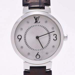 Louis Vuitton Silver Stainless Steel Tambour Monogram Slim Q13MJ Women's Wristwatch 33 MM