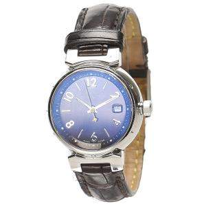 Louis Vuitton Blue Stainless Steel Tambour Q1211 Women's Wristwatch 28 MM