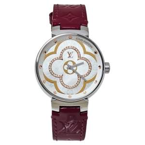 Louis Vuitton White Diamonds Stainless Steel Tambour Moon Divine Women's Wristwatch 35MM