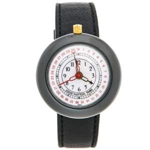 ساعة يد نسائية لوي فيتون مونتيري LV2 180316  ستانلس ستيل مطلي ذهب وسيراميك وجلد بيضاء 37 مم
