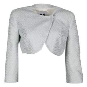 M Missoni Metallic Powder Blue Textured Cropped Jacket M