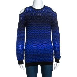 M Missoni Bicolor Chevron Patterned Knit Cold Shoulder Top M