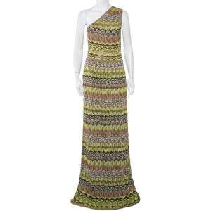M Missoni Green Patterned Lurex Knit One-Shoulder Maxi Dress M