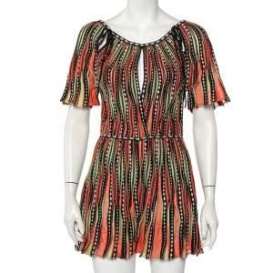 M Missoni Multicolor Striped Knit Tie Detail Playsuit S