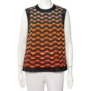 M Missoni Multicolor Perforated Knit Sleeveless Top L