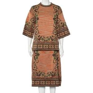 M Missoni Burnt orange Floral Jacquard Knit Midi Skirt & Top Set M