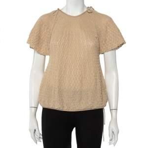 M Missoni Beige Lurex Knit Tie Detail Top L