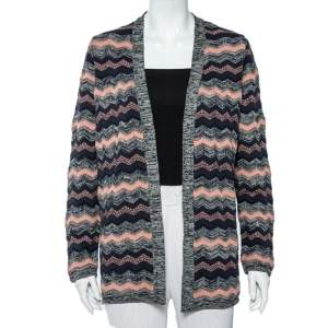M Missoni Multicolor Chevron Patterned Knit Open Front Cardigan M