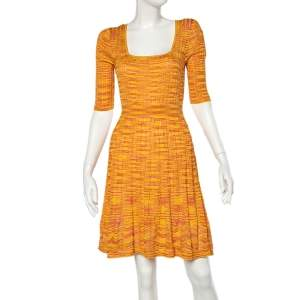 M Missoni Yellow & Orange Knit Knee Length Dress L