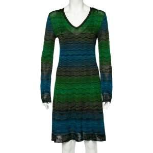 Missoni Multicolored Patterned Knit V-neck Flared Dress L