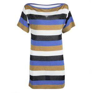M Missoni Colorblock Striped Knit Strip Back Detail Top M
