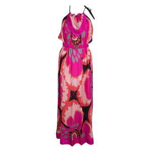 M Missoni Multicolor Printed Tie Detail Belted Maxi Dress M