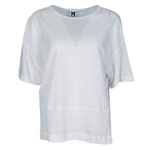 M Missoni White Knit Eyelet Panel Detail Short Sleeve Top M