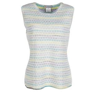 M Missoni Multicolor Striped Floral Crochet Knit Sleeveless Top L