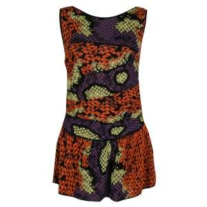 M Missoni Multicolor Honeycomb Patterned Knit Sleeveless Peplum Top M