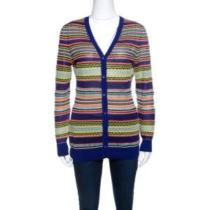 M Missoni Mutlicolor Patterned Knit Rib Trim Cardigan M