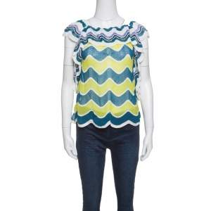 M Missoni Multicolor Wave Pattern Perforated Knit Ruffle Trim Top S