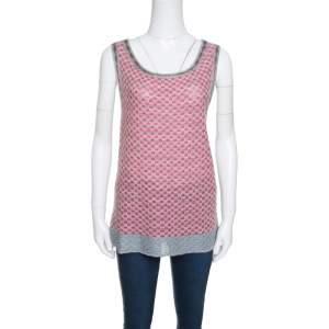 M Missoni Multicolor Patterned Lurex Knit Sleeveless Top L