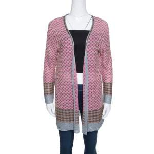 M Missoni Multicolor Patterned Lurex Knit Open Front Cardigan L