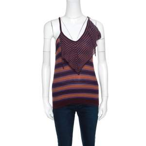 M Missoni Brown and Blue Striped Knit Tie Detail Racer Back Top M